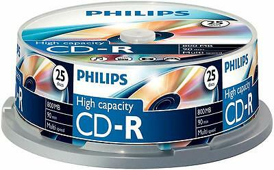 Philips - CR8D8NB25/00 - Cd-r 90 Minute 800mb (40x) Spindle, 25 Pack
