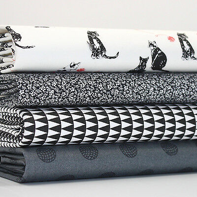 FQ x 4 Bundle BLACK AND WHITE CATS PLAYING WITH WOOL 100% COTTON FABRIC
