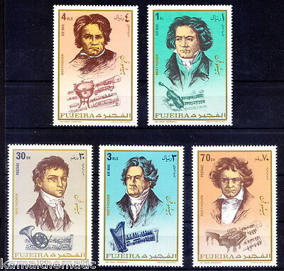 Fujeira MNH 5v, Beethoven, Music, Violin, Musical Instruments - M35