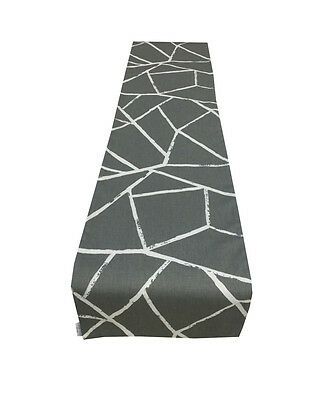 Geometric SMASH Grey White Zig Zag Fully lined Table/ Wedding/Bed runner/ Throw