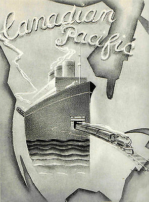 1928 Canadian Canada Pacific Art Deco Original Poster Ship Train Yan B Dyl