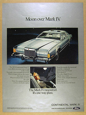 1973 Lincoln Continental Silver Mark IV color photo vintage print Ad