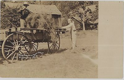 1920s President Coolidge throwing hay at his boyhood home in Plymouth VT RPPC