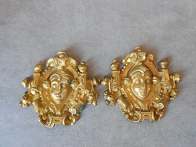 PAIR OF ANTIQUE French Gilded BRASS REPOUSSE Finials Mounts Hook Covers 19 th