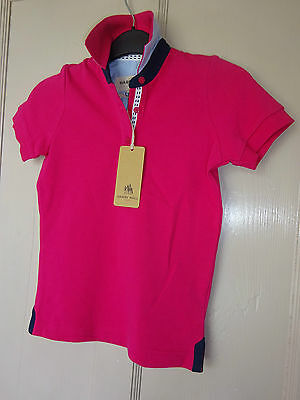 New ** Harry Hall Pink Limerick Polo Shirt **childs Tshirt Age 3-4 Yrs Horse Top
