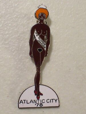 Vintage Black Nude Miss Illinois Jaycees Atlantic City Lapel Hat Pin 1978 Red