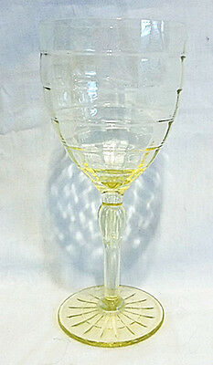 Nice Hard to Find Tall Anchor Hocking Yellow Block Optic Water Goblet 7 1/4 tall