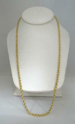 MENS LADIES 18K YELLOW GOLD SOLID DIAMOND CUT ROPE CHAIN NECKLACE 41g 4mm 24""