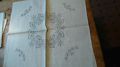 New Unused Vintage Linen Cushion Cover To Embroider Transfer  Floral Design