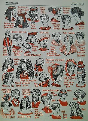 antique colour print 1960 Hairdressing hairstyles in history  approx 20 x 15 cm