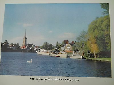 antique colour print Motor cruisers on Thames at Marlow c.1960 approx 20 x 15 cm