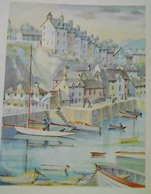 antique colour print 1960 boats houses and jetty approx 20 x 15 cm