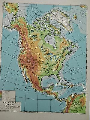 antique colour print North America Physical map c.1960 approx 20 x 15 cm
