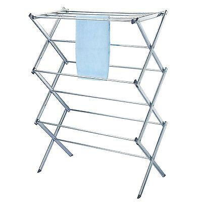 New Chrome Indoor 3 Tier Heavy Duty Clothes Airer Horse Maiden Dryer