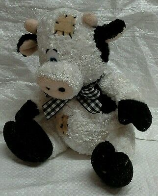 Bananas Patchwork White and Black Bull with Gingham Ribbon