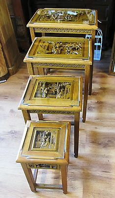 Nest of 4 Vintage Wood Hand Carved Chinese Nest of Tables, Glass Topped