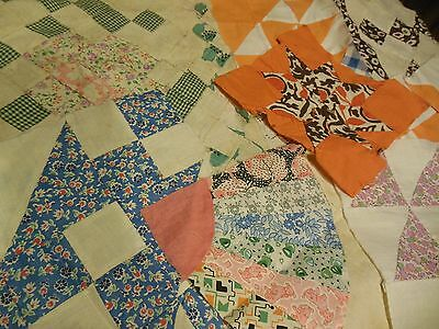 11 Vintage Hand Pieced Quilt Squares Blocks Variety of Patterns & Prints Lot