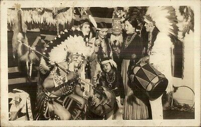 Native Indian Drum & Costumes Smiling Bear Little Feather Blue Corn RPPC