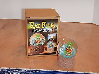 Rat Fink Snow Globe - Surf All Day - Mint In Box - Ed Roth - Big Daddy