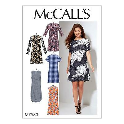 McCALL'S SEWING PATTERN MISSES' / WOMEN'S DRESSES SIZE 8-16 & 18W - 24W M7533