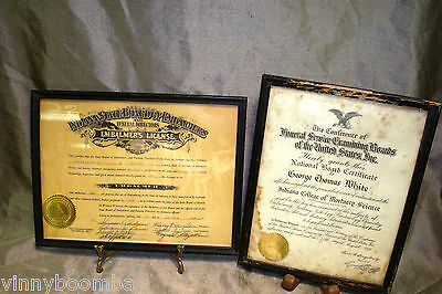 Vintage Indiana Funeral Home License State Embalmer & College Mortuary Certifi..