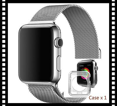 New Silver Stainless Mesh Metal Strap Adapter For Apple Watch 38mm Free Case x 1