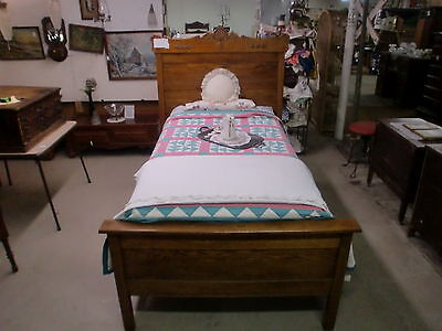 Antique Oak High Back Victorian Bed with Rails