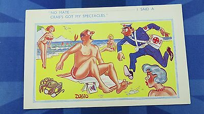 Risque Comic Postcard 1950s CRAB With SPECTACLES Optician Red Cross First Aid