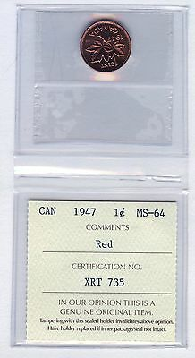 1947 Canada 1 Cent Coin Graded ICCS MS64 # XRT 735