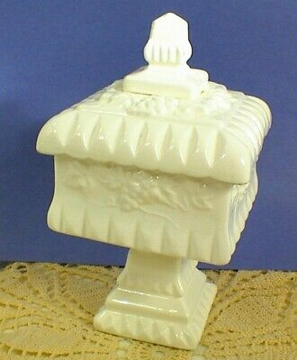 """Vintage Square White Porcelain Compote Candy Dish With Lid 8"""" Tall"""