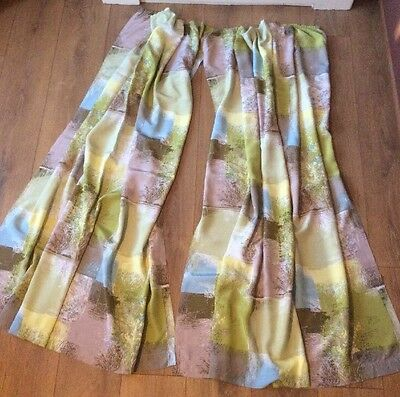 Vintage Pair Of 1950's 1960's Abstract Tree Pattern Curtains Fabric For Cushions