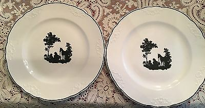 Two Vintage Black & White Silhouette Dinner Plates, Taylor & Smith???