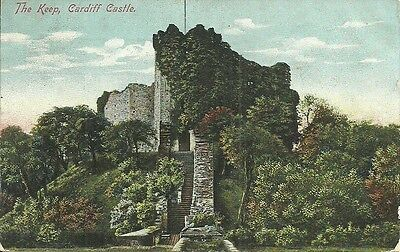 Vintage View Of The Keep, Cardiff Castle, Cardiff, Wales.