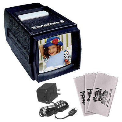 Pana-Vue 2 Lighted 35mm 2x2 Slide Film Viewer with AC Adapter & Cleaning Cloths