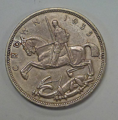 {BJSTAMPS} 1935 CROWN Great Britain .500 Silver