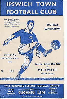 IPSWICH TOWN Res  v  MILLWALL Res  ( Comb) 1957/8.