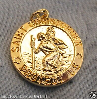 SAINT CHRISTOPHER Gold Medal Baby Jesus Keep Safe Lucky Charm Protection Flights