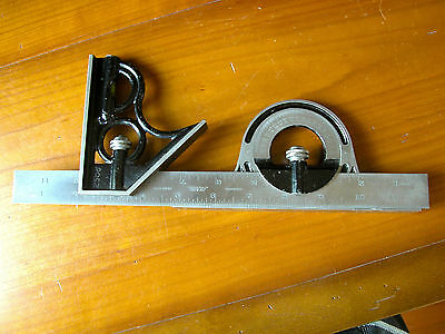 "Vintage Union Tool Co. Combination Square With Protractor on 12"" Lufkin Blade"