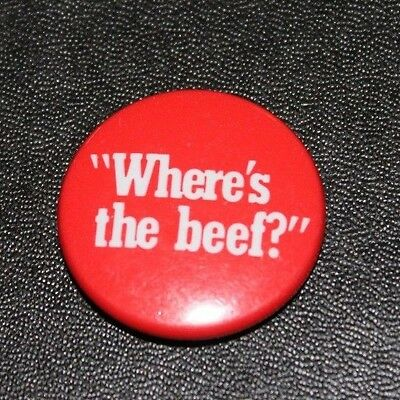 Where's the Beef 1980s Wendy's employee pin Clara Peller saying pinback button