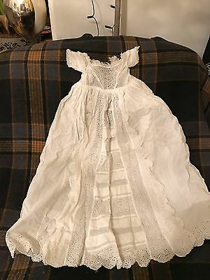 Vintage Cotton Baby Gown Frills Broderie Anglais Trim