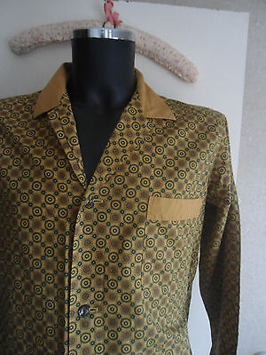 VINTAGE 1960's CLASSIC GOLD GEOMETRIC PRINT COTTON ST MICHAEL M&S MOD PYJAMAS
