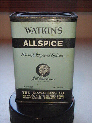Vintage Watkins Allspice Tin Empty 3Oz. Metal Made In Usa Advertising Spices