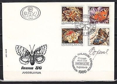 + Yugoslavia, Scott cat. 1788-1791. Butterflies issue on a First day cover.