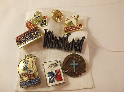 Mixed Lot Of Eight Pins/badges, Various Wear,