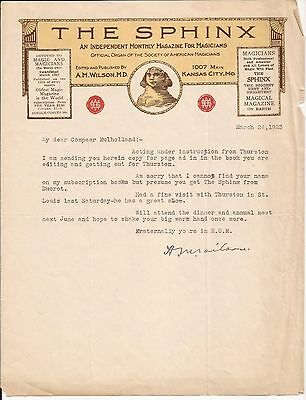 SIGNED LETTER FROM A. M. WILSON TO JOHN MULHOLLAND Sphinx Letterhead 1923 TLS