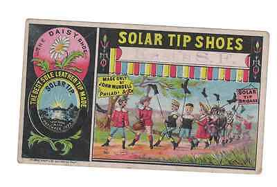 """1880's.SAN FRANCISCO Trade Card.Solar Tip Shoes.Stamped """"Kast's S.F.""""Hecht Bros"""