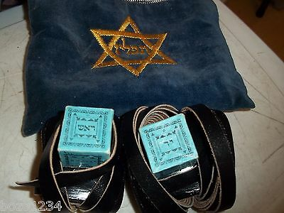 """VINTAGE 1973 JEWISH TEFILLIN TEFILIN Phylacteries FOR LEFT HAND BOXES ARE 1"""" SQ"""