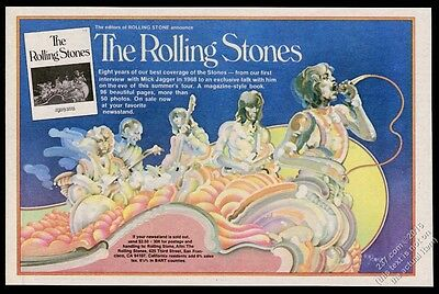 1975 The Rolling Stones psychedelic color art RS vintage print ad