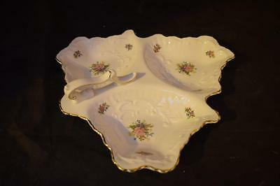 White Leaf Shaped Queens China 3 Part Dish Decorated w Flowers Rosina China Co