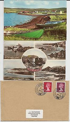 Aith, Shetland, view on small card plus postcard, envelope with Aith postmarks